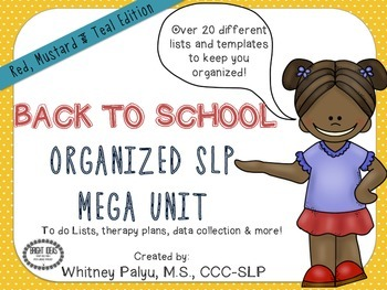BACK TO SCHOOL ORGANIZED SLP ! Mustard, Red & Teal Edition