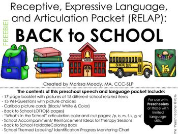 FREE: SCHOOL - Receptive, Expressive Language, and Articul