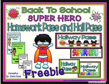 BACK TO SCHOOL SUPERHERO HOMEWORK AND HALLWAY PASSES FREEBIE