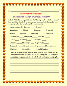 BACK TO SCHOOL: SYLLABICATION STATION & PARAGRAPH PRACTICE