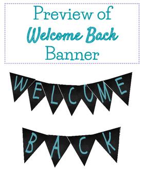 BACK TO SCHOOL Welcome Chalkboard Banner Blue