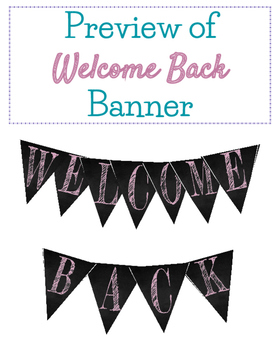 BACK TO SCHOOL Welcome Chalkboard Banner Pink Funky Font
