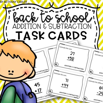 BACK TO SCHOOL review task cards - Addition & Subtraction