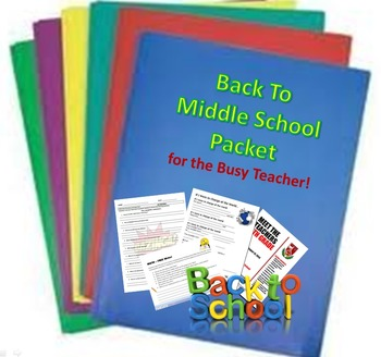 BACK To Middle School Teacher Packet!
