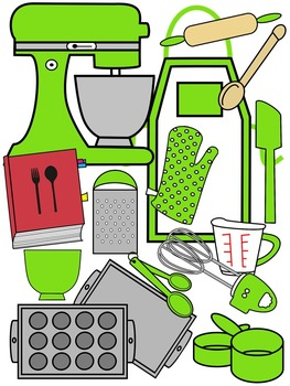 BAKING CLIP ART * LIME AND BLACK AND WHITE