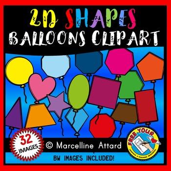 BALLOON SHAPES CLIP ART: 2D SHAPE BALLOONS