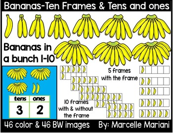 Place value clipart & ten frames -Bananas