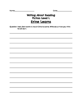 BAS Writing About Reading Fiction Responses Levels L-Z
