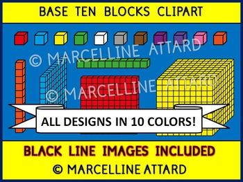 BASE TEN BLOCKS CLIPART IN 10 COLORS (PLACE VALUE CLIP ART)