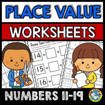 PLACE VALUE WORKSHEETS: TEEN NUMBERS CUT AND PASTE PRINTAB