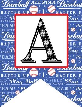 BASEBALL - Alphabet Flags, CREATE a BANNER, baseball pattern