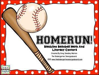 BASEBALL! Baseball Blackline Math And Literacy Centers!