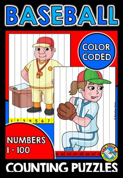 BASEBALL COUNTING PUZZLES: NUMBERS 1 TO 100: BASEBALL MATH CENTER