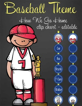 BASEBALL - Clip Chart GOING HOME / MS Word, editable