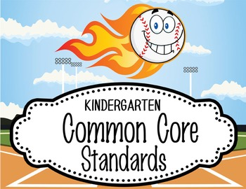 "BASEBALL - Kindergarten Common Core Standards ""I CAN"" form"