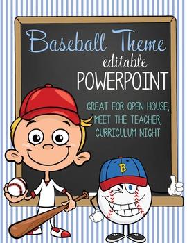 BASEBALL kid - PowerPoint, Open House, Curriculum Night, M