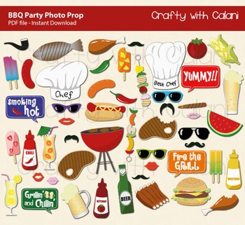 BBQ Party Photo Booth Prop, Summer BBQ Photo Booth Prop, 4
