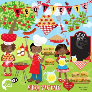 BBQ Clipart, Barbecue Clipart, Picnic clipart, African Ame