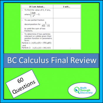 Calculus:  BC Calculus –Review Sheet