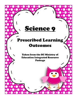 BC Science 9 Prescribed Learning Outcomes