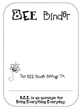 BEE Binder Home Communication Folder