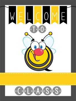 BEES - Classroom Decor: WELCOME Poster - 18 x 24, you pers