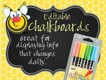 BEES - Classroom Decor: editable chalkboard  POSTERS / Bis