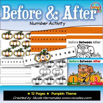 BEFORE and AFTER Numbers Math Center Activity