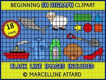 PHONICS CLIPART: BEGINNING DIGRAPHS CLIPART: BEGINNING SH CLIPART