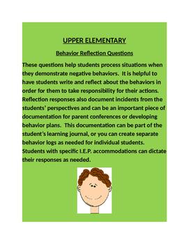 BEHAVIOR REFLECTION QUESTIONS -Upper Elementary