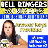 Brain Teasers: 40 bell ringers riddles for  teens. Whole Y