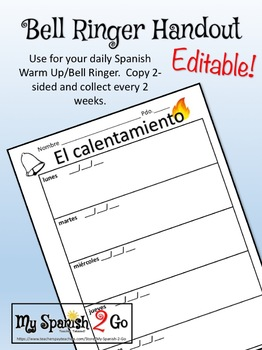 BELL RINGERS:  Weekly Printable Student Handout to Keep in