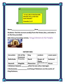 BIBLE ACTIVITY: KING SOLOMON & HIS TEMPLE