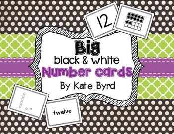 BIG Black & White Number Cards 1-20