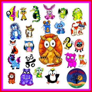 BIG EYES ANIMAL CLIP ART - commercial use
