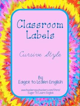 BILINGUAL SET: Classroom Labels - Cursive style