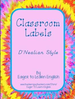 BILINGUAL SET: Classroom Labels - D'Nealian style