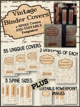 BINDER COVERS - EDITABLE - VINTAGE THEME - PRINT AND GO!