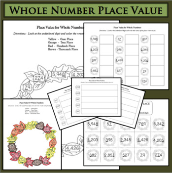 BUNDLE Fall Fun! Whole Number Place Value Ones Tens Hundre