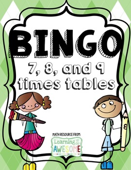 Times Tables Bingo, 7, 8, 9 facts