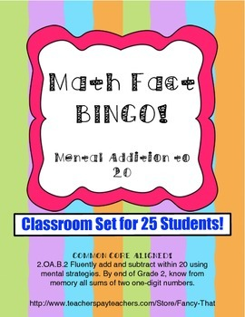 Math Fact Bingo! Mental Addition to 20 and Numeral Identif