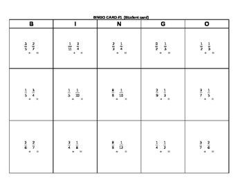 BINGO Cards - Adding fractions with unlike denominators