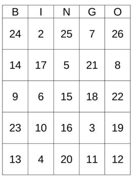BINGO cards - 30 different ones