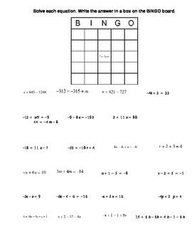 BINGO equations worksheet