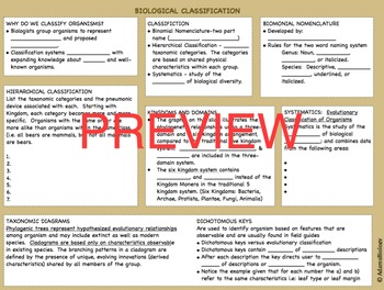 BIOLOGY CLASSIFICATION PRESENTATION AND GUIDED NOTES