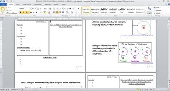 BIOLOGY STARTER QUESTIONS - GEN CHEMISTRY, with Agenda, HW