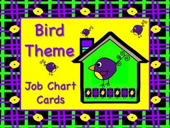 BIRD Theme Job Chart Cards - Great for Classroom Managemen