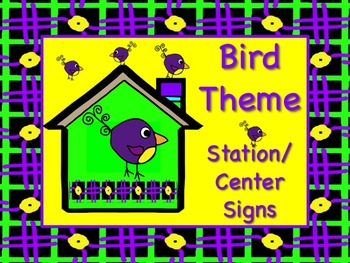 BIRD Themed Station/Center Signs Great Classroom Managemen
