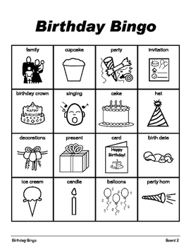 BIRTHDAY BINGO Make & Take, SPEECH THERAPY