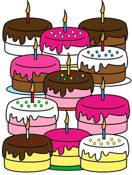 BIRTHDAY CAKE CLIP ART * COLOR AND BLACK AND WHITE